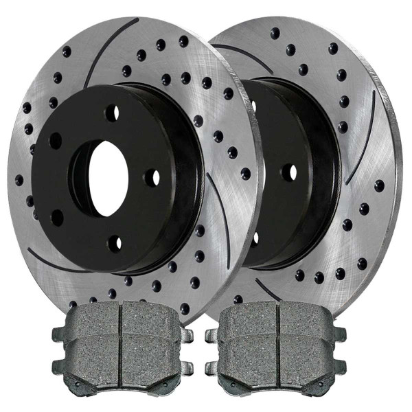 Rear Semi Metallic Brake Pad and Performance Drilled and Slotted Rotor Bundle 12 Inch Rotor Diameter - Part # SMKPR63052630521326