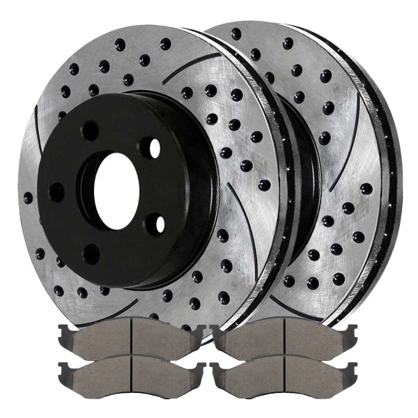 Front Semi Metallic Brake Pad and Performance Rotor Bundle - Part # SMKPR63986398477