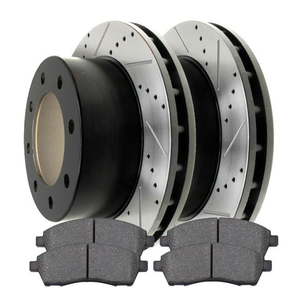 Rear Semi Metallic Brake Pad and Performance Drilled and Slotted Rotor Bundle - Part # SMKPR6407664076757