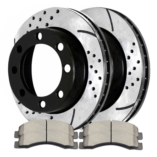 Front Semi Metallic Brake Pad and Performance Drilled and Slotted Rotor Bundle 4WD 13.03 Inch Rotor Diameter - Part # SMKPR6408064080824