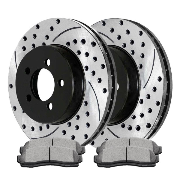 Front Semi Metallic Brake Pad and Performance Rotor Bundle 2.21 Inch Rotor Height - Part # SMKPR6409664096833