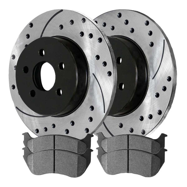 Rear Semi Metallic Brake Pad and Performance Rotor Bundle - Part # SMKPR6410064100881