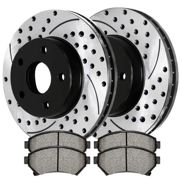 Front Semi Metallic Brake Pad and Performance Rotor Bundle 10.94 Inch Rotor Diameter - Part # SMKPR6503865038699