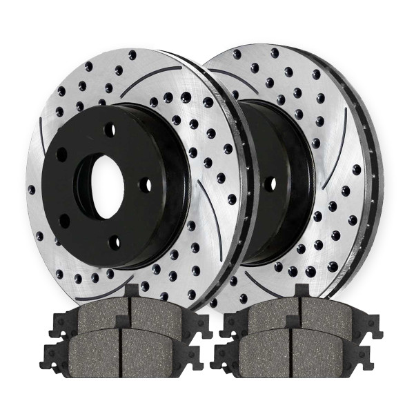 Front Semi Metallic Brake Pad and Performance Rotor Bundle 10.94 Inch Rotor Diameter - Part # SMKPR6504265042727