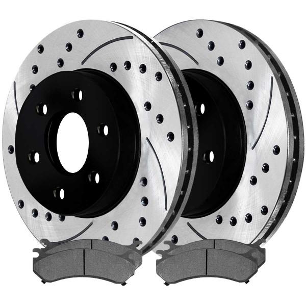 Front Semi Metallic Brake Pad and Performance Rotor Bundle 6 Stud - Part # SMKPR6505665056785