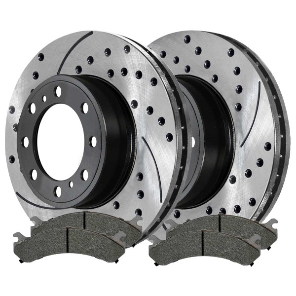 Front Semi Metallic Brake Pad and Performance Rotor Bundle 8 Stud - Part # SMKPR6507465074784