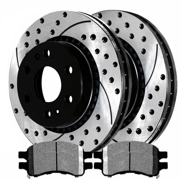 [Set] 2 Drilled & Slotted Performance Brake Rotors & 1 Set Semi Metallic Brake Pads - Part # SMKPR65081650811169