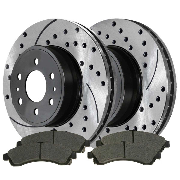 Front Semi Metallic Brake Pad and Performance Rotor Bundle - Part # SMKPR6508165081882