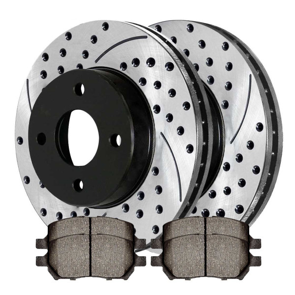 Front Semi Metallic Brake Pad and Performance Rotor Bundle 4 Stud - Part # SMKPR6508565085956