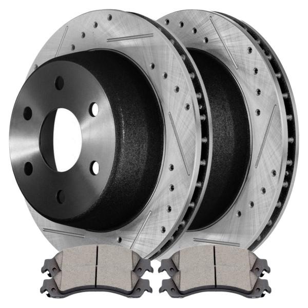 [Set] 2 Drilled & Slotted Performance Brake Rotors & 1 Set Semi Metallic Brake Pads - Part # SMKPR6508665086834