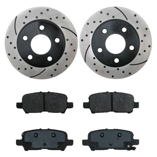 Performance Drilled and Slotted Rotors Pair + Semi Metallic Brake Pads Set - Part # SMKPR6508765087999
