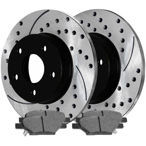 Rear Semi Metallic Brake Pad and Performance Rotor Bundle - Part # SMKPR65096650961033