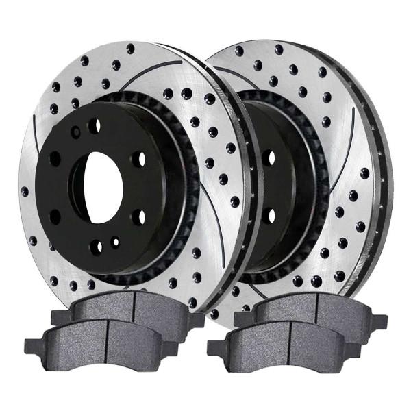 [Set] 2 Drilled & Slotted Performance Brake Rotors & 1 Set Semi Metallic Brake Pads - Part # SMKPR65114651141169