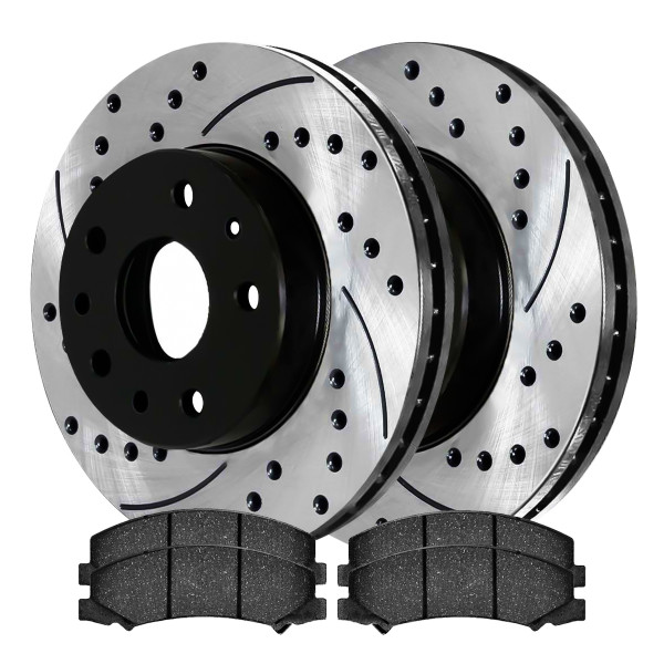 Front Semi Metallic Brake Pad and Performance Drilled and Slotted Rotor Bundle 5 Stud 12.71 Inch Rotor Diameter - Part # SMKPR65126651261159
