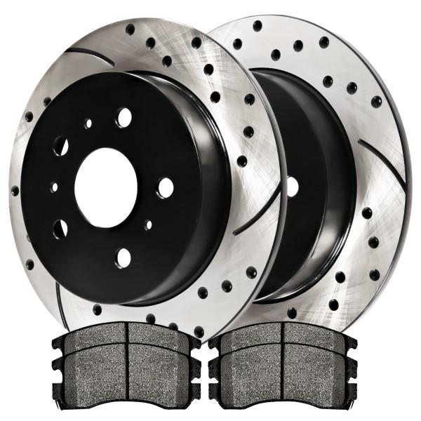 [Set] 2 Drilled & Slotted Performance Brake Rotors & 1 Set Semi Metallic Brake Pads - Part # SMKPR6512765127698