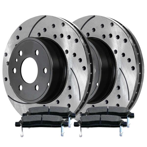 Rear Semi Metallic Brake Pad and Performance Rotor Bundle - Part # SMKPR6515365153883