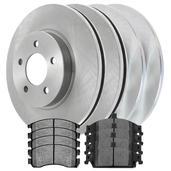 Front Rear Set Disc Brake Rotors Metallic Pads Kit for 99-04 Oldsmobile Alero - Part # SMKR448