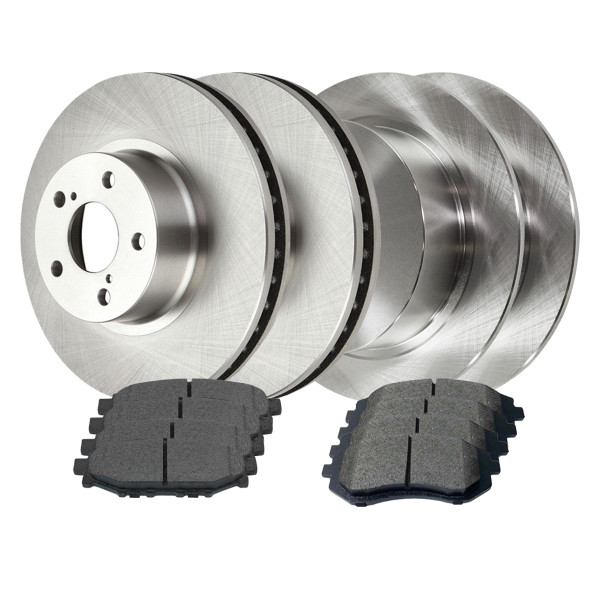 [Front & Rear Set] 4 Brake Rotors & 2 Sets Semi Metallic Brake Pads - Part # SMKR5434