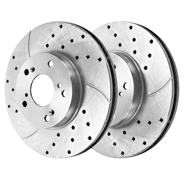 Front Disc Brake Caliper Ceramic Brake Pad and Performance Drilled and Slotted Rotor Bundle Silver Metal Piston - Part # SRBRPKG00049