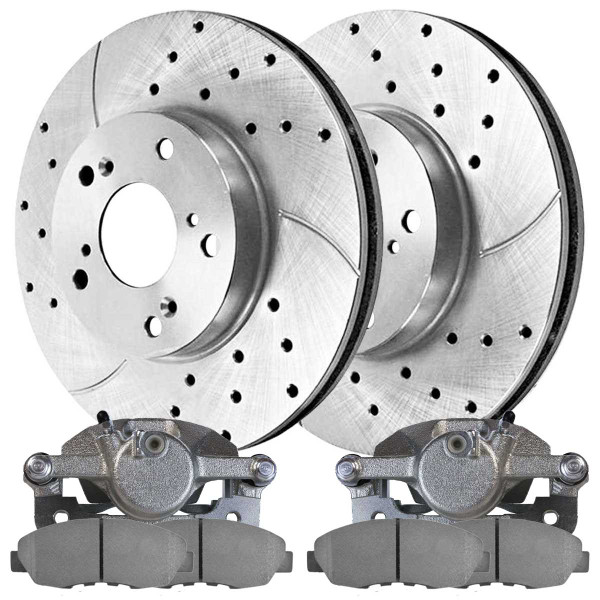 Front Disc Brake Caliper Semi Metallic Brake Pad and Performance Drilled and Slotted Rotor Bundle Silver Metal Piston - Part # SRBRPKG00125