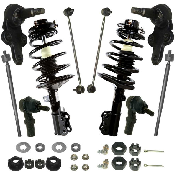 [Front Set] 2 Complete Strut Assemblies & 4 Tie Rod Ends & 2 Ball Joints & 2 Sway Bar Links - Part # STCHK10002