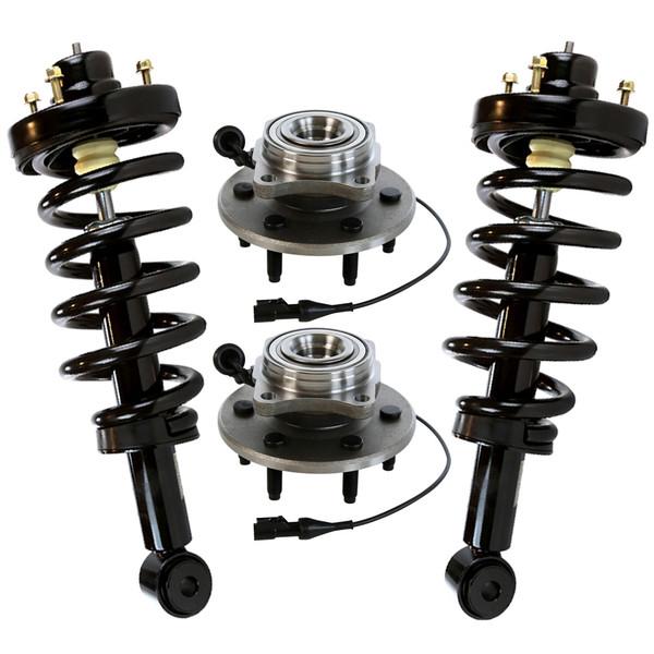 Pair (2) Complete Rear Strut Assemblies & Pair (2) Wheel Hub Bearing Assemblies - Part # SUSPKG10122