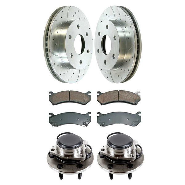 Front Set of Performance Rotors Pads & Hub Bearings - Part # SUSPKG10124