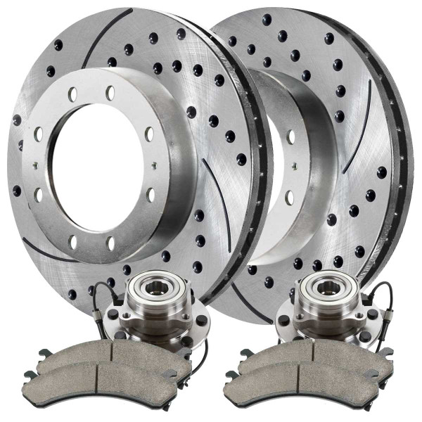 Front Wheel Hub Bearing Assembly Performance Brake Pad Performance Drilled and Slotted Rotor Bundle Silver 8 Stud 4WD - Part # SUSPKG10129