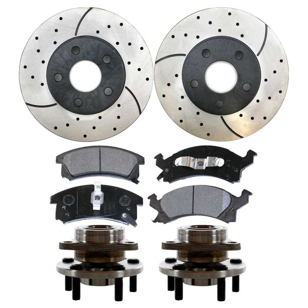 Front Set of Performance Rotors, Pads & Hub Bearings - Part # SUSPKG1069