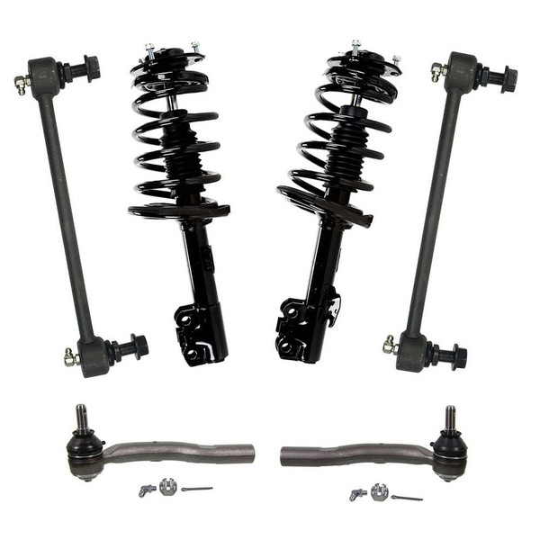 6 PC Set – Front Complete Strut Assemblies, Outer Tie Rod Ends, and Sway Bar Link Kits - Part # SUSPKG1089