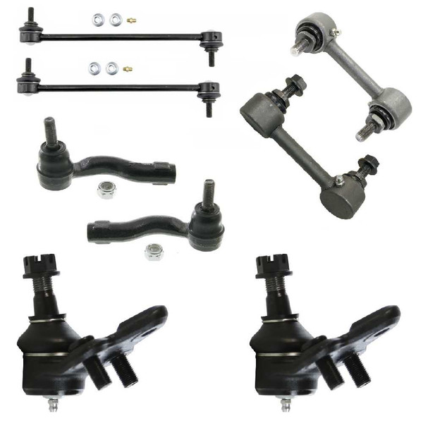 [Front & Rear set] 2 Ball Joints 2 Outer Tie Rods 4 Sway Bar Link/Kits - Part # SUSPKG2263