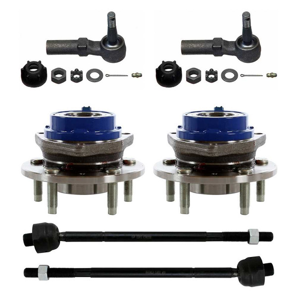 [Front Set] 2 Wheel Hub Bearings & 2 Inner Tie Rod & 2 Outer Tie Rod - Part # SUSPPK00025