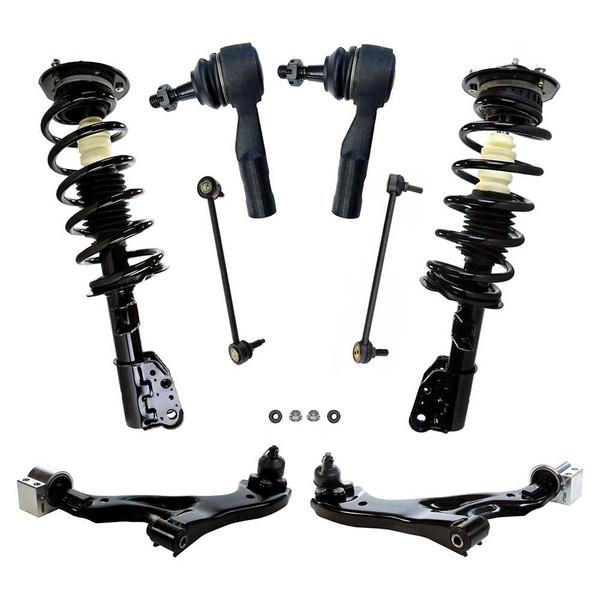 [Set] 8 Piece Complete Strut Assemblies, Control Arms, Tie Rod Ends & Sway Bar Links - Part # SUSPPK01433