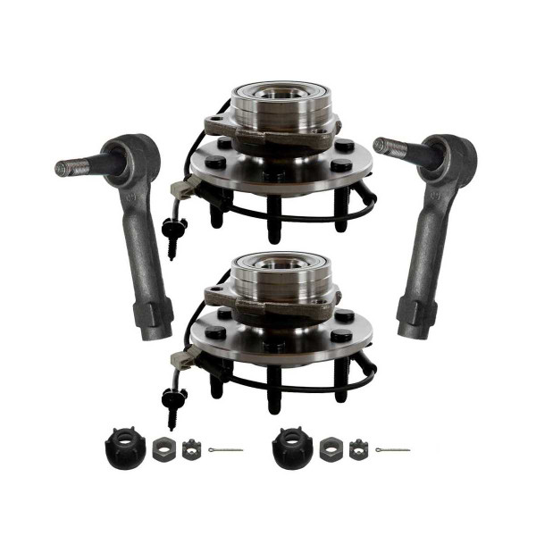 [Front Set] 2 Wheel Hub Bearing Assemblies & 2 Outer Tie Rod Ends - Part # TRKHB30385038