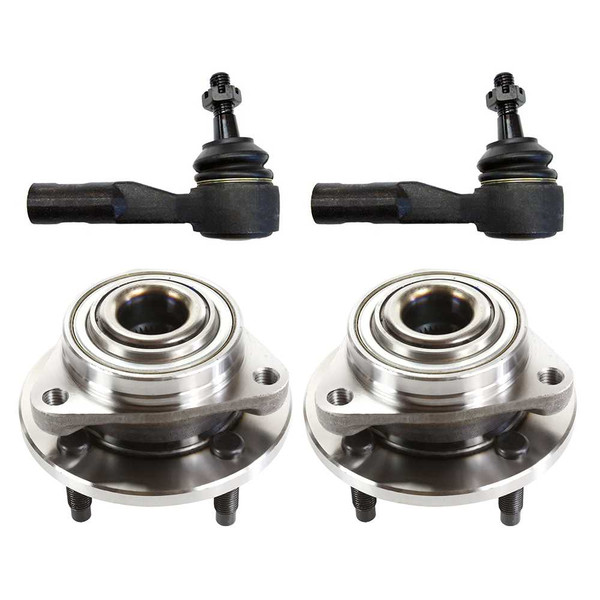 Set of 2 Front Hub Bearings and 2 Front Outer Tie Rods - Part # TRKHB35773207